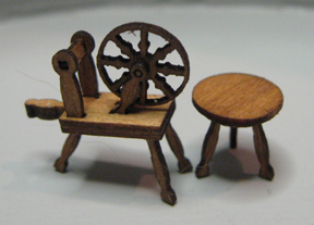 QS857 Spinning Wheel and Stool